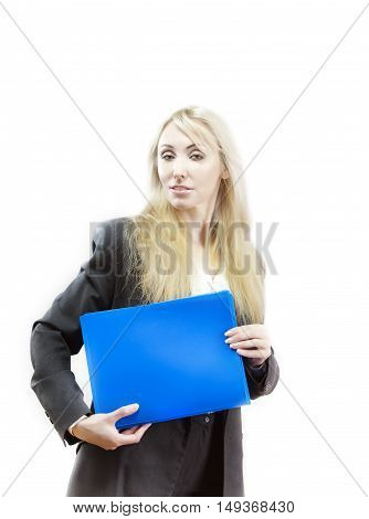 business woman with folder on a white background