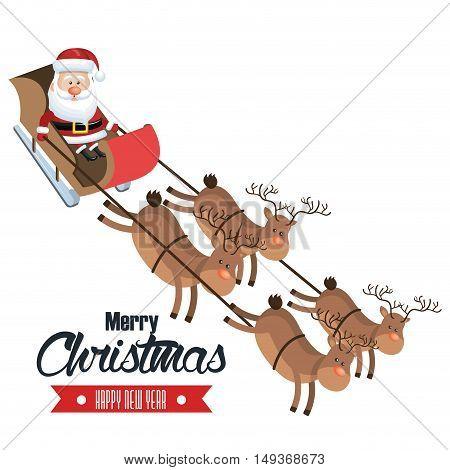 merry christmas and happy new year santa flying deer sleigh design vector illustration