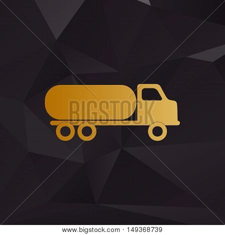 Car Transports Sign. Golden Style On Background With Polygons.