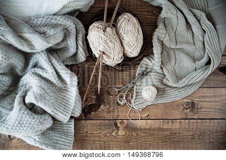 Ball Of Yarn And Knitting At Home