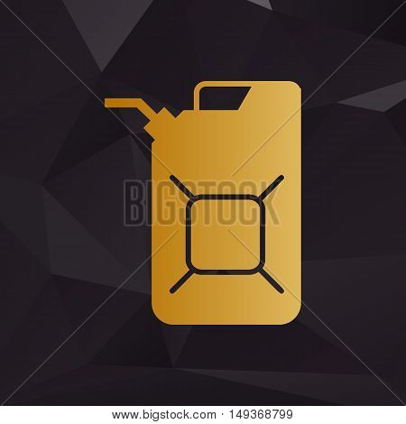 Jerrycan Oil Sign. Jerry Can Oil Sign. Golden Style On Background With Polygons.