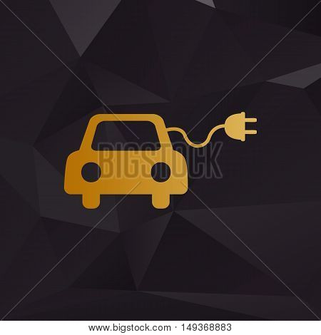 Eco Electric Car Sign. Golden Style On Background With Polygons.