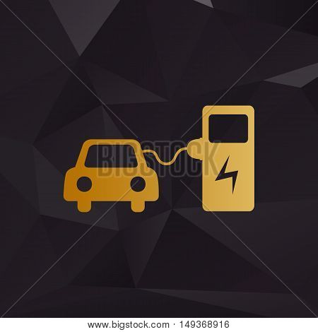 Electric Car Battery Charging Sign. Golden Style On Background With Polygons.