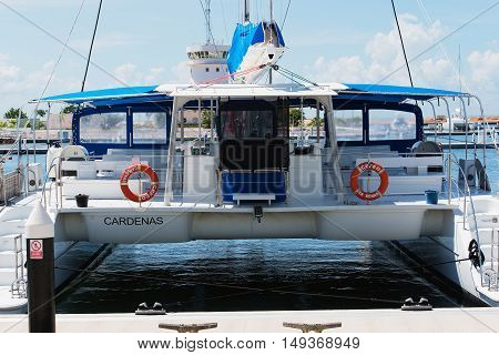 Varadero, Cuba - September 06, 2016: Catamaran boat in the marina Varadero, Cuba