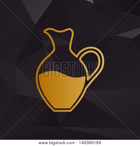 Amphora Sign. Golden Style On Background With Polygons.