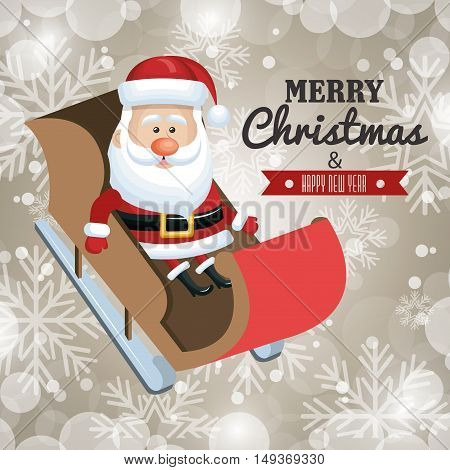 merry christmas card and happy new year santa claus in sleigh flying design vector illustration