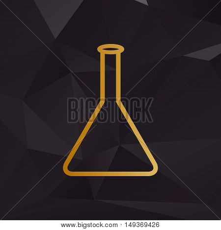 Conical Flask Sign. Golden Style On Background With Polygons.