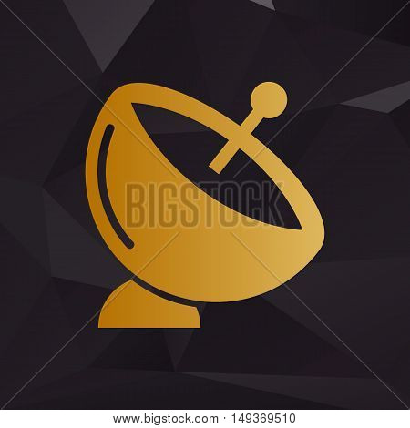 Satellite Dish Sign. Golden Style On Background With Polygons.