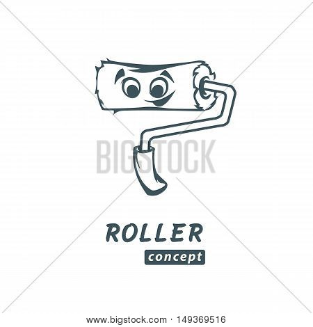 Roller paint icon logo concept sketch vector brush decoration tool sign symbol renovation illustration handle art wall isolated white painter paintbrush work repair equipment cartoon simple kind cute nice eyes mouth
