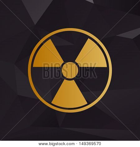 Radiation Round Sign. Golden Style On Background With Polygons.
