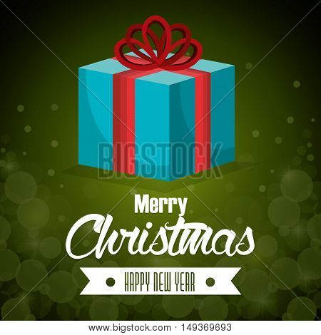 big gift blue bow card merry christmas green background vector illustration
