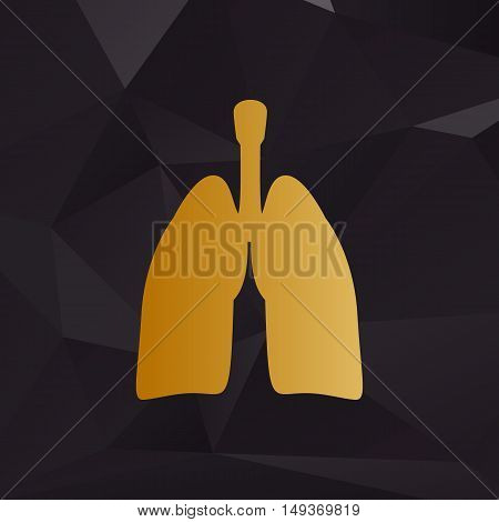Human Organs Lungs Sign. Golden Style On Background With Polygons.