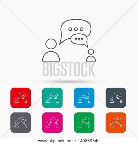 Dialog icon. Chat speech bubbles sign. Discussion messages symbol. Linear icons in squares on white background. Flat web symbols. Vector