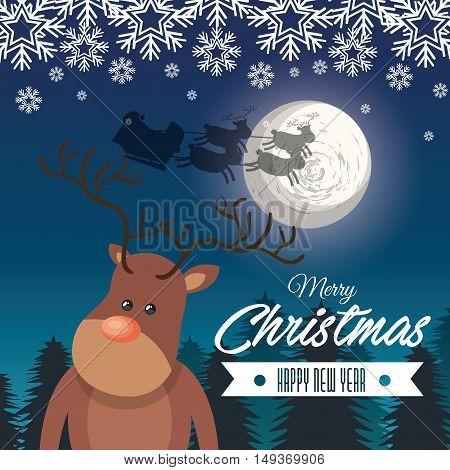card merry christmas reindeer santa flying sleigh snow design vector illustration