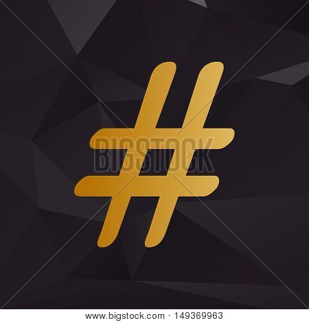 Hashtag Sign Illustration. Golden Style On Background With Polygons.