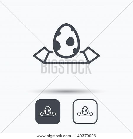 Dinosaur egg icon. Location map symbol. Pokemon egg concept. Square buttons with flat web icon on white background. Vector
