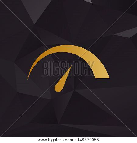 Speedometer Sign Illustration. Golden Style On Background With Polygons.