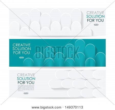 Vector Banners Template Design With Paper  Tiles Texture.