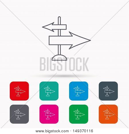 Direction arrows icon. Destination way sign. Travel guide symbol. Linear icons in squares on white background. Flat web symbols. Vector