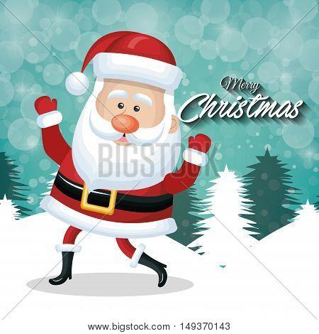 cheerful santa claus merry christmas white tree sanow vector illustration