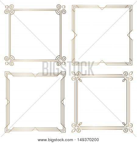 Set of 4 geometric square frames in Art Deco style. Vector illustration design elements. Four golden frames isolated on white background