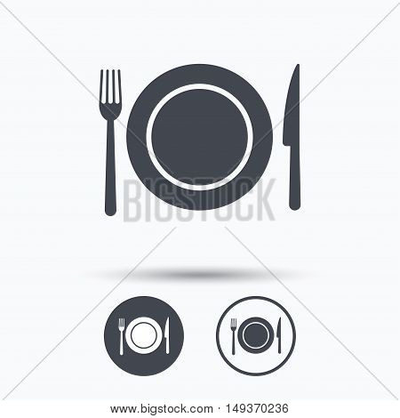 Dish, fork and knife icons. Cutlery symbol. Circle buttons with flat web icon on white background. Vector