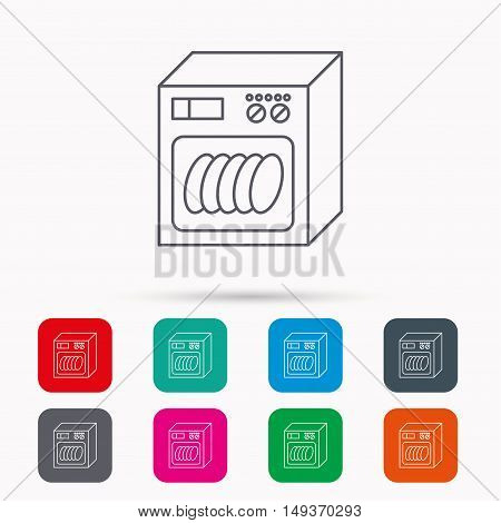 Dishwasher icon. Kitchen appliance sign. Linear icons in squares on white background. Flat web symbols. Vector