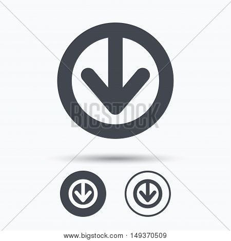Download icon. Load internet data symbol. Circle buttons with flat web icon on white background. Vector