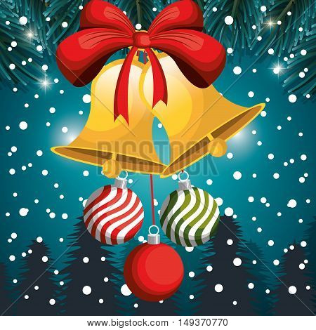 christmas card bell and balls red bow snowfall and tree vector illustration