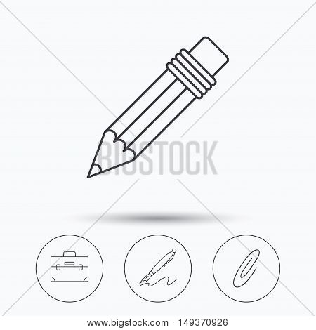 Briefcase, pencil and safety pin icons. Pen linear sign. Linear icons in circle buttons. Flat web symbols. Vector