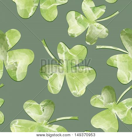 St. Patrick's Day Background. Leaves seamles watercolor pattern
