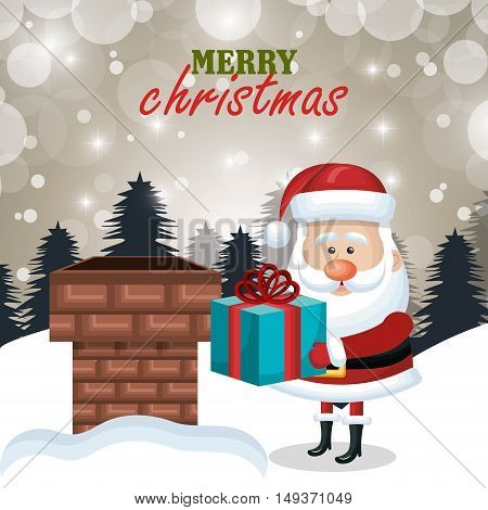 postcard xmas santa claus gift chimney. .landscape vector illustration