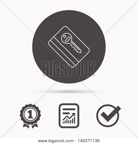 Electronic key icon. Hotel room card sign. Unlock chip symbol. Report document, winner award and tick. Round circle button with icon. Vector