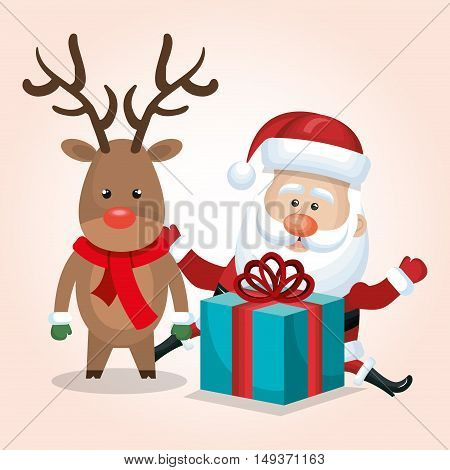 santa claus reindeer gift merry christmas isolated vector illustration