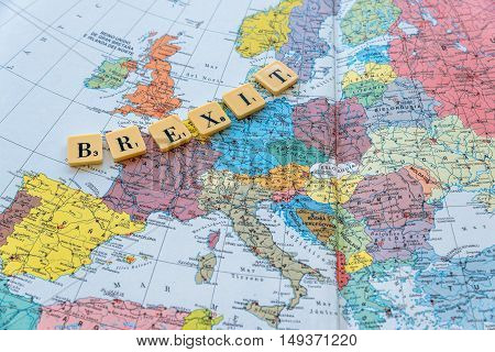London UK - June 12 2016: Brexit word on european map. The United Kingdom European Union membership referendum on 23 June 2016