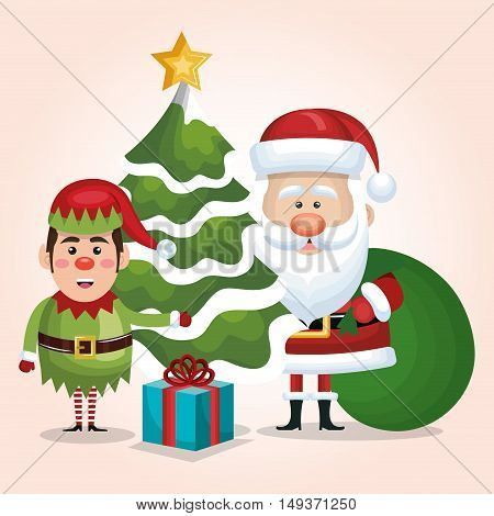 card santa claus elf tree gift bag design isolated vector illustration