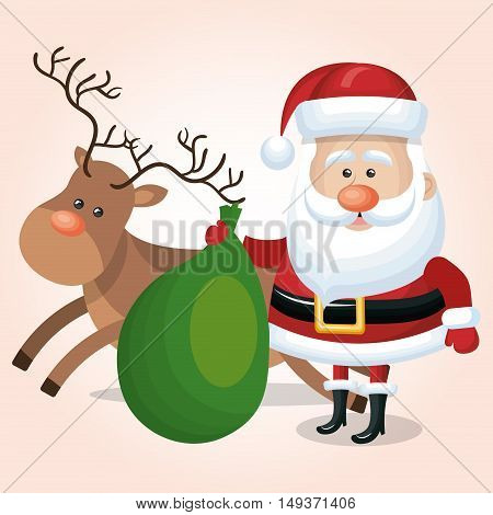 santa claus with green bag and reindeer graphic isolated vector illustration