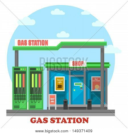 Gas station or petrol store, market or shop with pumps for automobile energy. Local facade of construction for benzine sale. Exterior outdoor view on modern structure. For travel theme