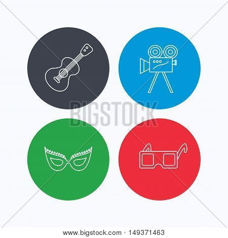 Guitar music, video camera and theatre mask icons. 3d glasses linear sign. Linear icons on colored buttons. Flat web symbols. Vector