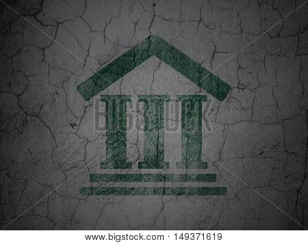 Law concept: Green Courthouse on grunge textured concrete wall background