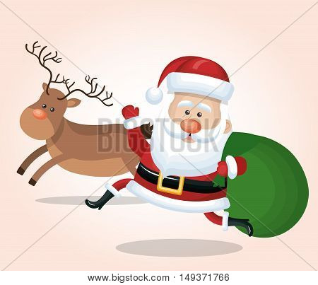 cheerful santa claus with reindeer and bag gift design isolated vector illustration