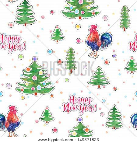 Vector watercolor fire cock and christmas green tree with text Happy New Year and balls. Chinese calendar Zodiac for 2017 New Year of rooster. Isolated bird and tree in watercolor.