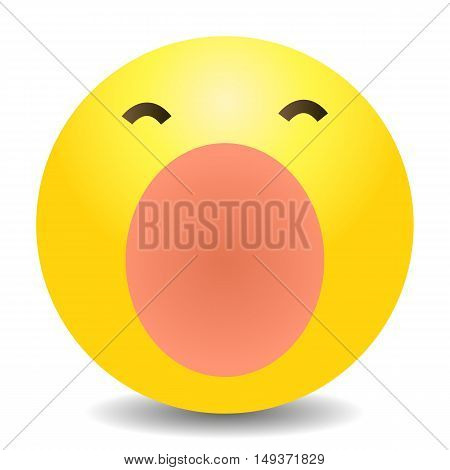 Vector Single Yellow Emoticon - Yawn Face
