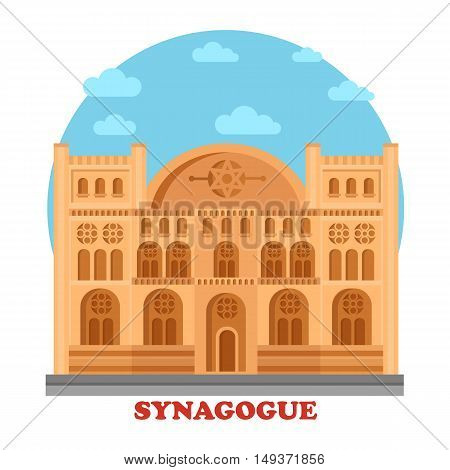 Synagogue or synagog architecture building. Hebrew or judaism temple or church with star of David on top. Great for hebrew or faith, holy and culture, social construction panorama theme