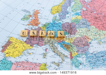 London UK - June 12 2016: Union word on european map. The United Kingdom European Union membership referendum on 23 June 2016