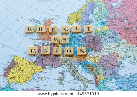 London UK - June 12 2016: Brexit vs Union words on european map. The United Kingdom European Union membership referendum on 23 June 2016