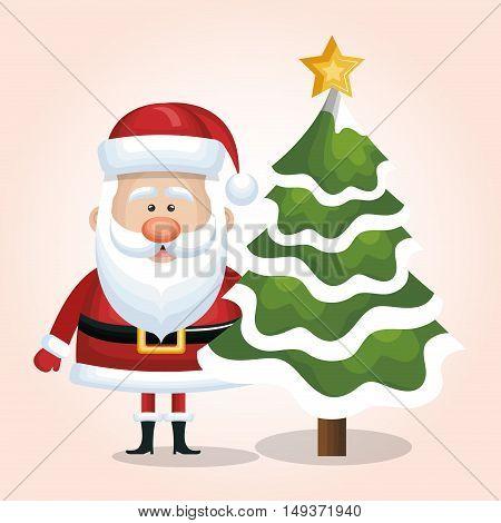 xmas santa claus with christmas tree snow star isolated vector illustration