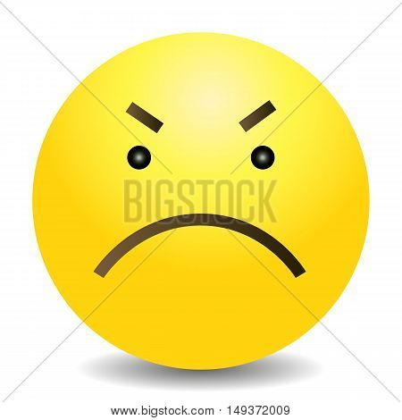 Vector Single Yellow Emoticon - Angry Face