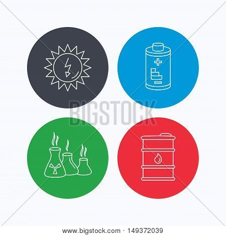 Solar energy, battery and oil barrel icons. Industries linear sign. Linear icons on colored buttons. Flat web symbols. Vector