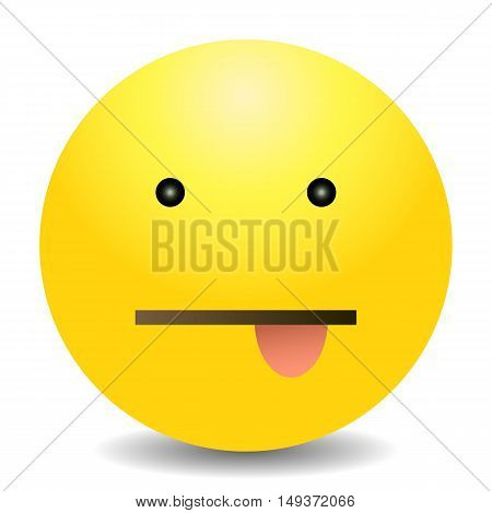 Vector Single Yellow Emoticon - Face With Tongue